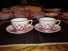 Two Johnson Brothers Windsor Ware Red Dover Cups and Saucers