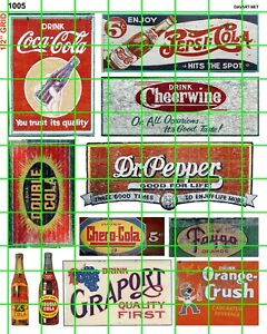 1005 DAVE'S DECALS HO GHOST SIGN ASSORTED COLAS SODAS POP ADVERTISING WATERSLIDE
