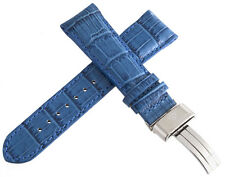 Aqua Master 24mm Blue Leather Watch Band with Stainless Steel Deployment clasp