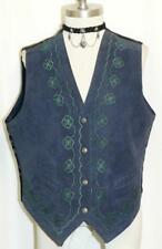 LEATHER VEST Jacket Women German EMBROIDERY Fitted Trachten BLUE 46 10 M