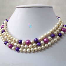 """45"""" 4-9mm white Purple Freshwater Pearl Necklace Strand Jewelry"""
