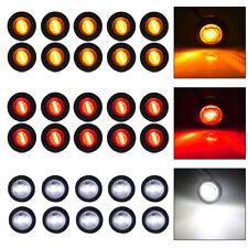 """30X White/Red/Amber Mini 12V 3/4"""" Round Side 3 LED Marker Trailer Bullet Lights"""