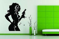 Wall Stickers Vinyl Decal Decor Gangster Sexy Girl With Gun Hot Bond 007 Killer