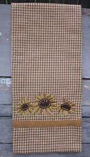 Sunflower Mustard Check Tea Towel, Brown Embroidered Stitching 100% Cotton