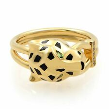 Cartier Yellow Gold Tsavolrite Garnets Onyx Black Lacquer Diamond Panthere Ring