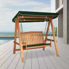 More details for tropicana 2 seater wooden swing chair bench with sun canopy garden furniture