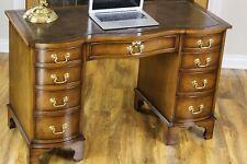 Antique Style Burr Walnut Twin Pedestal Leather Top Partners Writing Desk