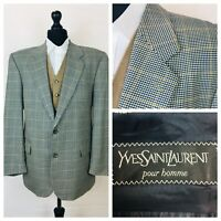 Yves Saint Laurent Mens Jacket Blazer Chest 44 Wool Blue Beige Tweed Style  K02A