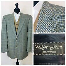 YVES SAINT LAURENT Veste Homme Blazer Poitrine 44 Laine Bleu Beige Tweed Style K02A