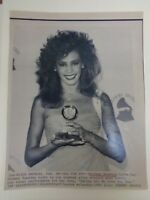 Vtg Wire Press Photo Singer Whitney Houston Grammy Award I Will Always Love You