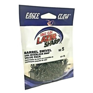 Eagle Claw Lazer Sharp Barrel Swivel Interlock Snap Size 5 Qty 35 SLBIBKXL-5