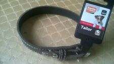 NEW WITH TAG. KARLIE FLAMINGO BLACK LEATHER DOG COLLAR XS/S. CHARITY SALE