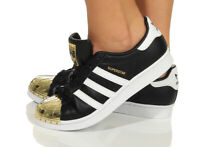 Adidas Superstar Metal Toe W schwarz weiß gold Damen Low-Top Sneakers Leder NEU