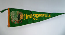 """Vintage 1940s WWII WW2 HENDERSONVILLE North Carolina Indian Chief 23"""" Pennant"""