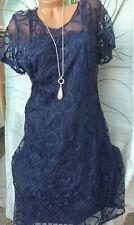 Abendkleid Eventkleid Sheego Kleid Spitzenkleid Gr. 40 bis 58 Blau (761) (024)