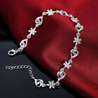 Fashion 925 Silver Ladies Love Heart Charm Beads Bracelet Flower Bangle Jewelry