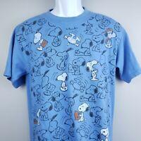 Yazbek Peanuts Snoopy T Shirt Blue All Over Dog Print Comic Cartoon Size Tag M