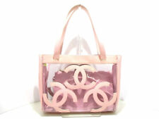 Auth CHANEL A27123 Clear Pink Vinyl Patent Leather Tote Bag