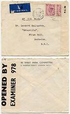 GB alle Barbados WW2 CENSURA 1943 West India COMITATO Stampato ENV... 1/- Affrancatura