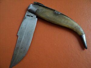 antique toledo spain folding navaja knife 1950s green horn carbon steel clip
