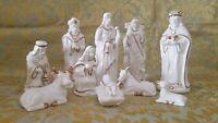 """Christmas Wonder 11 Piece Set Nativity Scene 7"""" White & Gold Porcelain Wood Base"""
