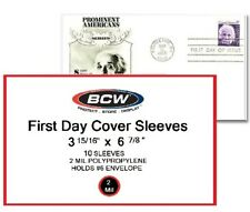 First Day Cover Sleeves. Package of 10 BCW #6 Envelope 3 15/16 X 6 7/8  FREE S+H