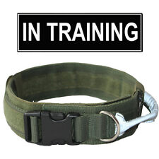 Military Tactical Dog Training Collar W/ Reflective Handle and Patch Adjustable