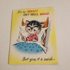 Vintage Greeting Card Get Well Cat Kitten In Bed Thermometer