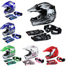 6 Colors DOT Youth Kids ATV Full Face Helmet Motocross Goggles Gloves S/M/L/XL