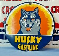 VINTAGE HUSKY GASOLINE PORCELAIN GAS OIL DOG SERVICE STATION PUMP PLATE AD SIGN