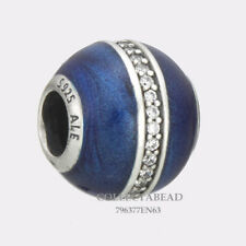 Authentic Pandora Silver Blue Enamel Orbit CZ Bead 796377EN63 *WINTER 2017
