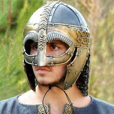18GA SCA LARP Medieval Steel Viking Mask Helmet Norman Helmet Armor Helmet TB32