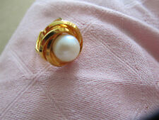 Orange Gold Tone & White Faux Pearl Adjustable Ring - Small to Medium