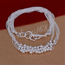 Ladies Tassel Beads Fashion 925 Sterling Silver Charm Necklace Jewelry H959