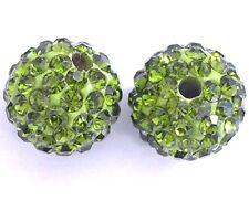 10 Olivine Rhinestone clay pave 8mm beads for Shamballa Bracelets