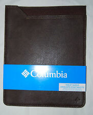 New! Columbia Dark Brown Faux Leather iPad Tablet Sleeve #31CO3202