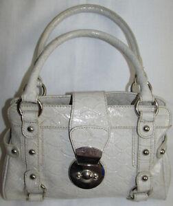 Bisou Bisou Michele Bohbot Embossed White Faux Leather Satchel Shoulder Bag Tote