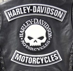 Kit Toppe x Gilet Harley Davidson Willie G Skull Patches Set 3 pz Termoadesive