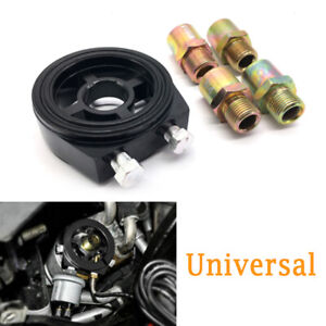 M20x1.5 Car Oil Filter Temp Pressure Cooler Gauge Sandwich Plate Adapter Black