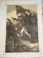 Litho XIX NAPOLEON BONAPARTE PASSAGE PONT ARCOLE VERONA ITALIE EMPIRE 1840