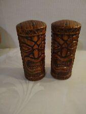 """Vintage Hawaiian Treasure Craft Tiki Totem Salt & Pepper Shakers Ceramic 5"""""""