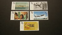 2015 NEW ZEALAND STAMPS, 75 YEAR OF AIR NEW ZEALAND TEAL SET OF 5 MINT STAMP MNH