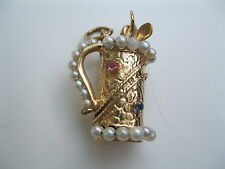 Vintage 14 Karat Gold Golf Club Bag with Clubs Charm Pendant 9.2 Grams