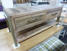 New Chunky Reclaimed Wood 2 Drawer Coffee Table TV Unit *Furniture Store*