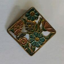 flowers brooch Art Deco enamel