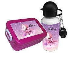 Brotdose pink Rosti Mepal mit Namen Gemüsefach Trinkflasche Einhorn Schloss