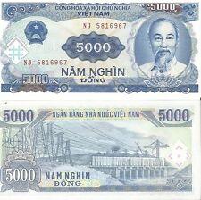 Vietnam Viet Nam money 5000 Dong note showing Ho Chi Minh