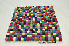 CU4 Hand Crafted Multi pom pom beads Felt Ball wool Decorative Cushion Suare Rug