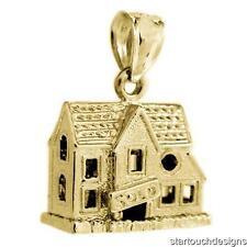 New 14k Yellow Gold 3-D House Charm Pendant