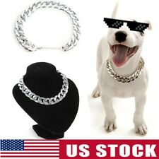 Pet Choke Cool Chain Silver Necklace Collar Small Large Cat Dog French Bulldog